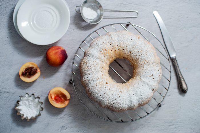 Peach  Bundt Cake sprinkled with sugar