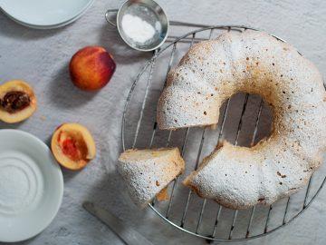Peach Bundt Cake on cooling rack