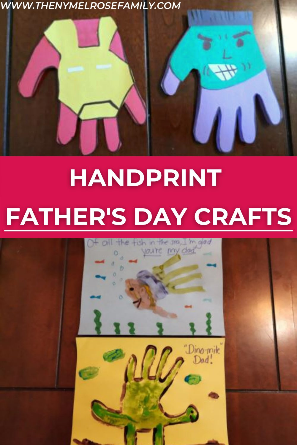 If you are wondering what gift your kids can give their dad this Father's Day, you are in luck. These amazing handprint father's day crafts will make great gift and memorable keepsakes. #fathersdaycrafts #handprintcrafts #kidscrafts #fathersdaygifts #nymelrosefamily via @jennymelrose