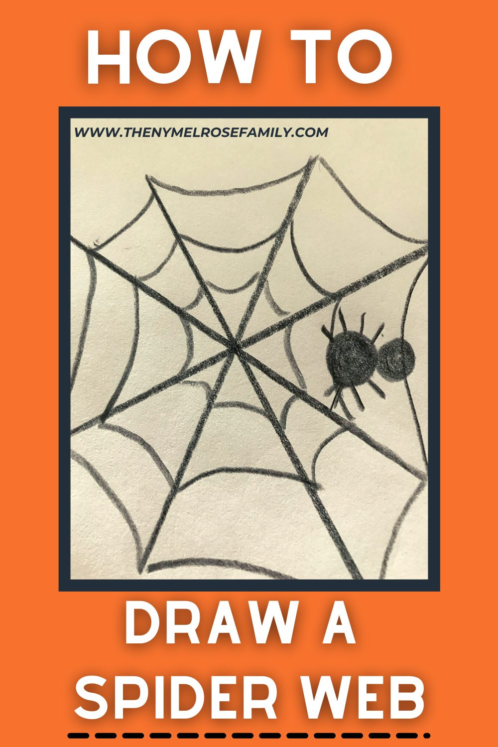 Looking for an easy way to learn how to draw a spider web? Look no more. This guide will help you to learn how to draw a spider web using basic supplies and add an amazing spooky piece to your art projects. #spiderwebart #spiderwebwithspider #kidscrafts #crafts #nymelrosefamily via @jennymelrose