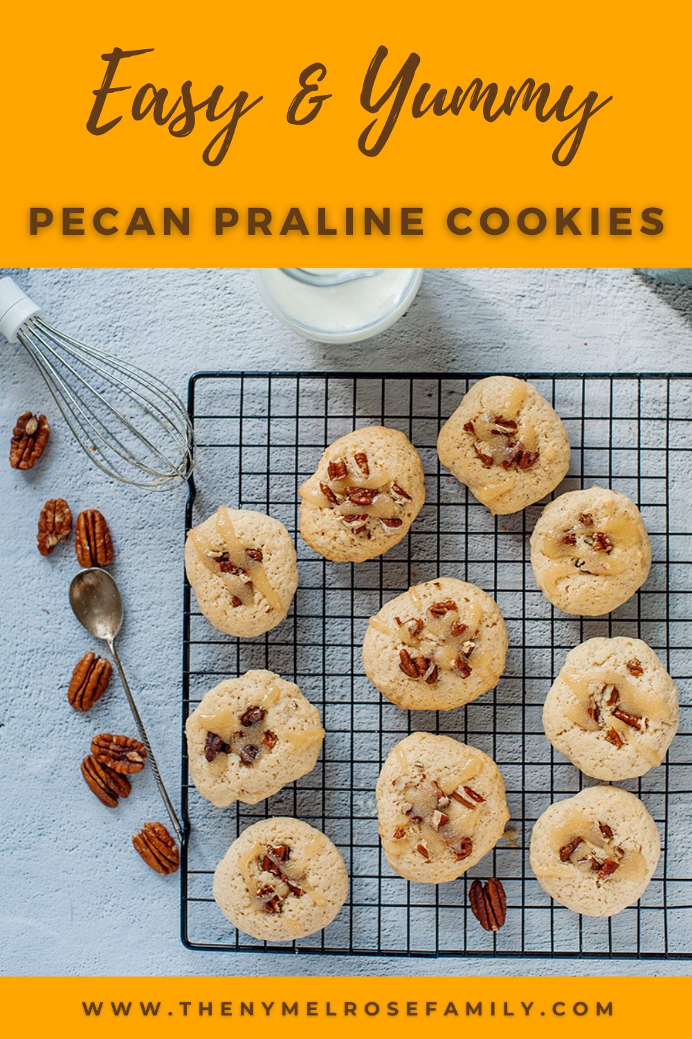These easy and tasty Pecan Praline Cookies are loaded with the goodness of pecan nuts and homemade icing. Perfect for holidays, gifting and celebrating the warm fall season. #pecanpralinecookies #cookierecipes #fallrecipes #nymelrosefamily via @jennymelrose