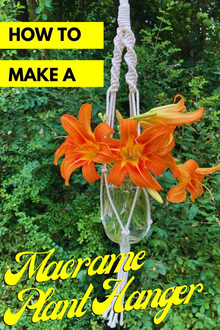 macrame plant hanger with flowers