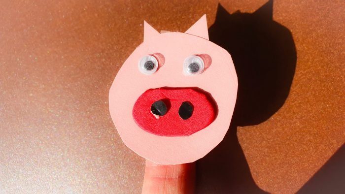 finger puppet made using pig face and sticky tape