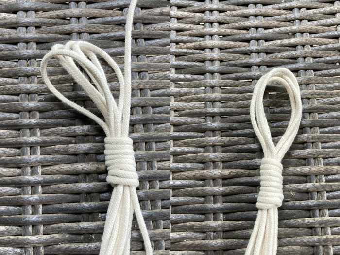completed macrame cord hook