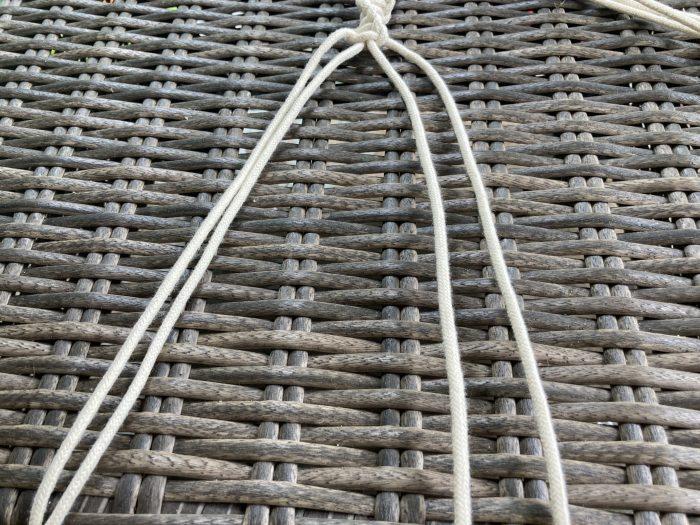 making the sling for macrame plant hanger