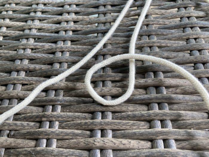 loop formed using macrame cord