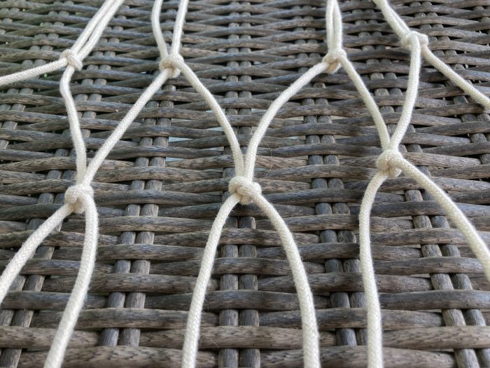 completed net of macrame cords