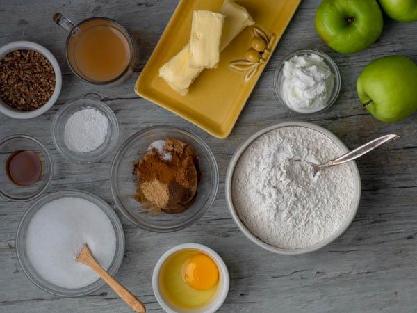 ingredients for making apple cider muffins