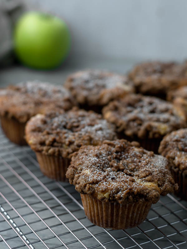 apple cider muffins on wire grill