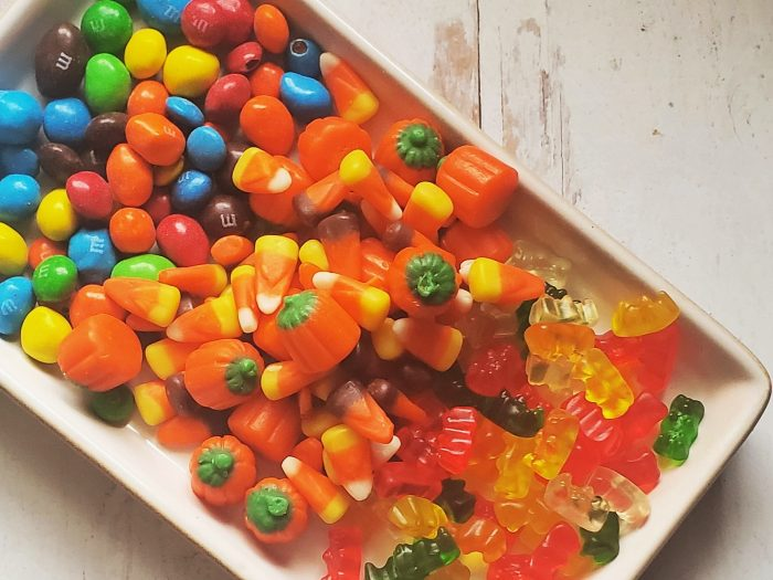 halloween candies in a tray