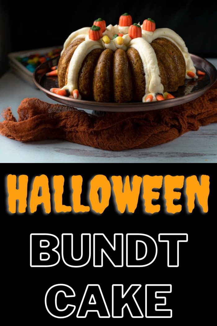 halloween bundt cake served on a cake stand