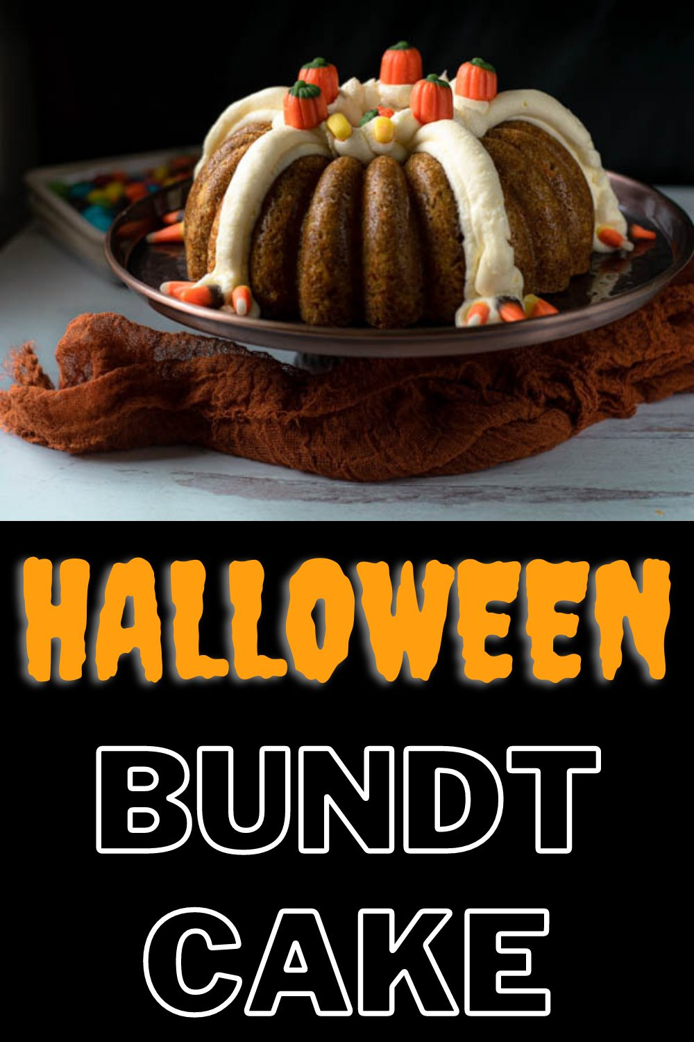 This Halloween Bundt Cake is loaded with colorful candies and yummy cream cheese frosting inside out, making it the perfect Halloween treat. Full recipe and tips available on our site!! #halloweenbundtcake #halloweenideas #halloweenrecipes #fallrecipes #nymelrosefamily via @jennymelrose