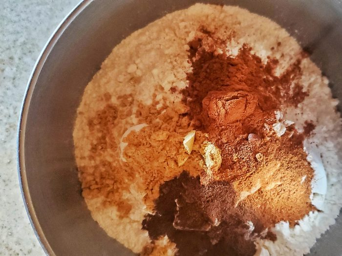 Dry ingredients for the cake