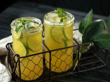 passion fruit margarita served in mason jars